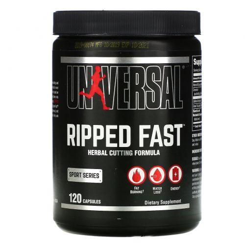 Universal Nutrition, Ripped Fast, Усовершенствованный, высокоэффективный жиросжигатель, 120 капсул