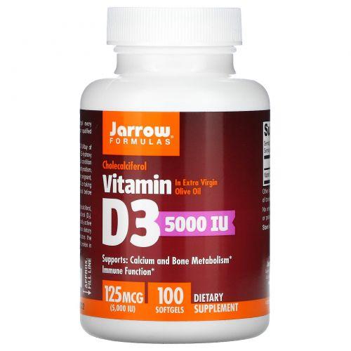 Jarrow Formulas, Витамин D3, 5000 МЕ, 100 гелевых капсул
