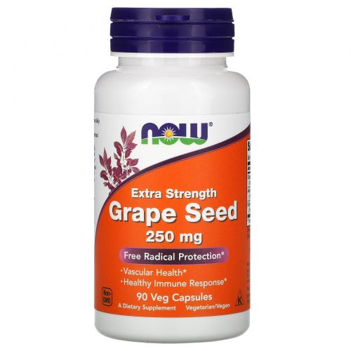 Now Foods, Grape Seed, Extra Strength, 250 mg, 90 Veggie Caps