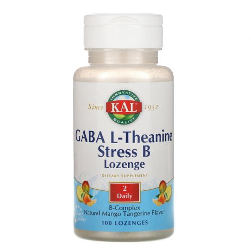 KAL, GABA L-Theanine Stress B Lozenge, Natural Mango Tangerine Flavor, 100 Lozenges