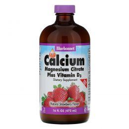 Bluebonnet Nutrition, Жидкий кальций, цитрат магния и витамин D3, с натуральным клубничным ароматизатором, 16 жидких унций (472 мл)