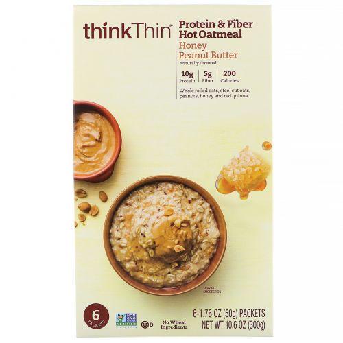ThinkThin, Овсянка с протеинами и клетчаткой для приготовления горячих блюд, арахисовая паста с медом, 6пакетов по 50г (1,76унции)