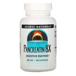 Source Naturals, Pancreatin 8X, 500 mg, 100 Capsules
