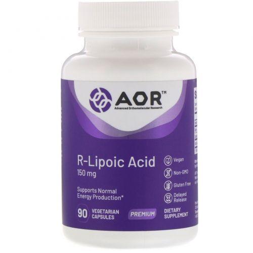 Advanced Orthomolecular Research AOR, R-липоевая кислота, R(+)-1,2-дитиолан-3-пентаноат, 90 капсул на растительной основе