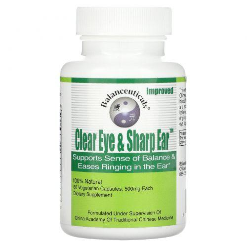 Balanceuticals, Clear Eye & Sharp Ear для зрения и слуха, 500 мг, 60 растительных капсул