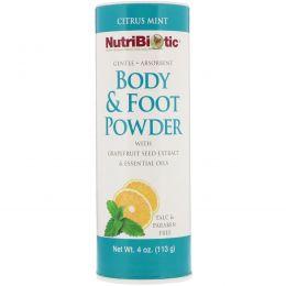 NutriBiotic, Порошок для тела и ног с экстрактом семечек грейпфрута и эфирными маслами, Цитрус и мята, 4 унц. (113 г)