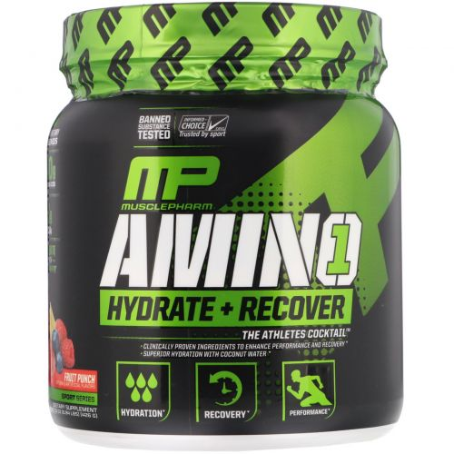 Muscle Pharm, Amino 1, Hydrate + Recover, Fruit Punch, 0.15 oz (426 g)