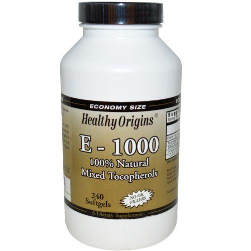 Healthy Origins, E-1000, 100% натуральные токоферолы, 240 капсул