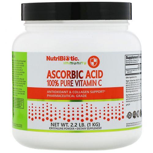 NutriBiotic, Аскорбиновая кислота, кристаллический порошок, 1 кг