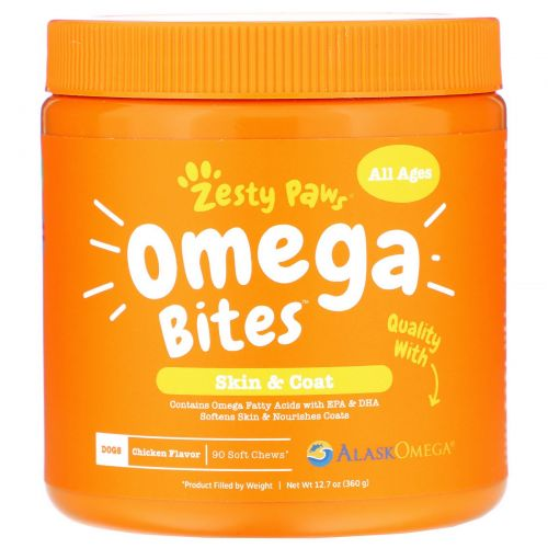 Zesty Paws, Omega Bites, For Pets, Skin & Coat Support, Chicken Flavor, 90 Soft Chews