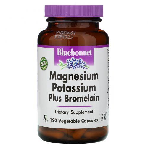 Bluebonnet Nutrition, Калий Магний плюс бромелайн 120 овощных капсул