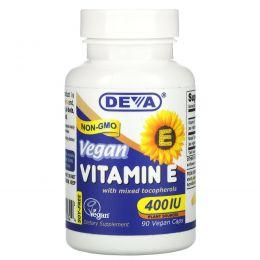 Deva, Vegan Vitamin E with Mixed Tocopherols, 400 IU, 90 Vegan Caps