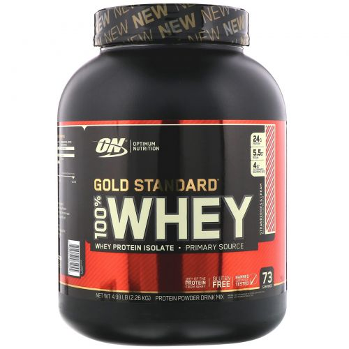 Optimum Nutrition, Gold Standard, 100% Whey, Strawberries & Cream, 4.98 lb (2.26 kg)