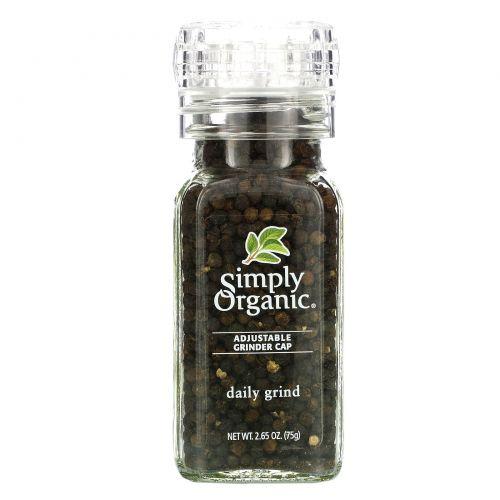 Simply Organic, Ручная мельница, чёрный перец-горошек, 2.65 унции (75 г)