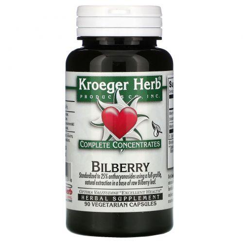 Kroeger Herb Co, Черника, 90 растительных капсул