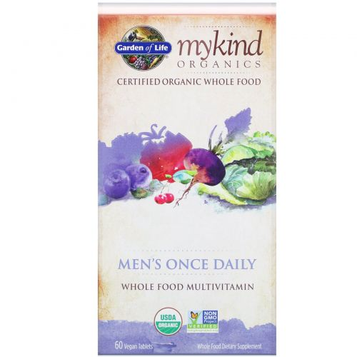 Garden of Life, MyKind Organics, для мужчин, раз в день, цельнопищевой мультивитамин, 60 веганских таблеток