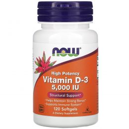 Now Foods, Витамин D-3, 5000 МЕ, 120 капсул