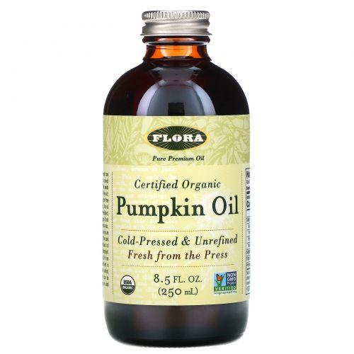 Flora, Сертифицированное натуральное тыквенное масло, 8.5 жидких унций (250 мл)
