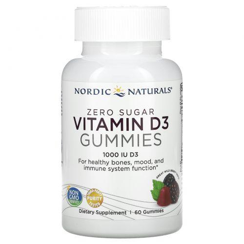Nordic Naturals, Zero Sugar Vitamin D3 Gummies, Wild Berry, 1,000 IU, 60 Gummies