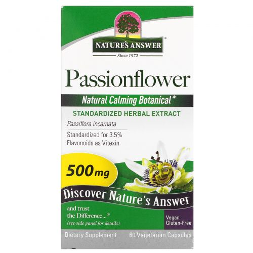 Nature's Answer, Страстоцвет, 500 мг, 60 растительных капсул