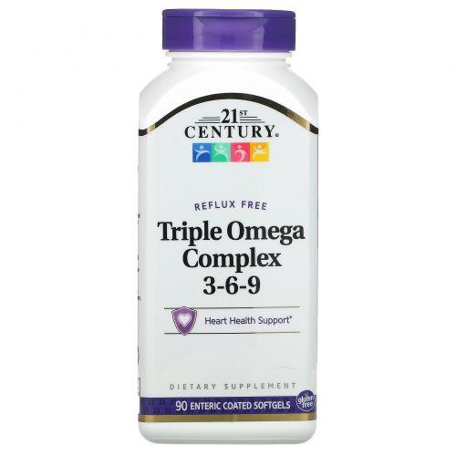 21st Century, Тройной Комплекс Омега 3-6-9 90 гелевых капсул с кишечным покрытием