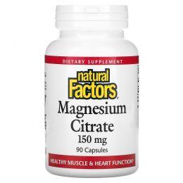 Natural Factors, Сульфат магния, 150 мг, 90 капсул