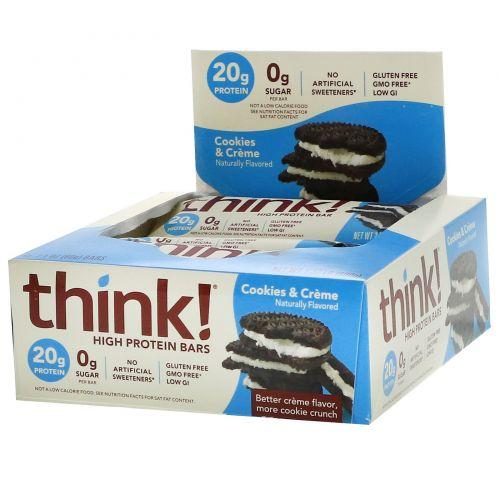 ThinkThin, Насыщенный протеином батончик, печенье и сливки, 10 батончиков, 2,1 унц. (60 г) каждый
