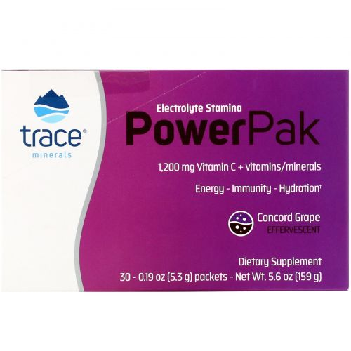 Trace Minerals Research, Электролиты Stamina Power Pak, виноград, 1 200 мг, 30 пакетов. 0,19 унц. (5,3 г) каждый