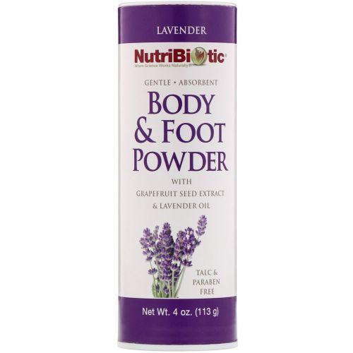 NutriBiotic, Гигиеническая пудра для тела и ног, с экстрактом семян грейпфрута и маслом лаванды, лаванда, 4 унц. (113 г)
