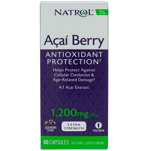 Natrol, AcaiBerry, Super Strength , 1,200 mg, 60 Capsules