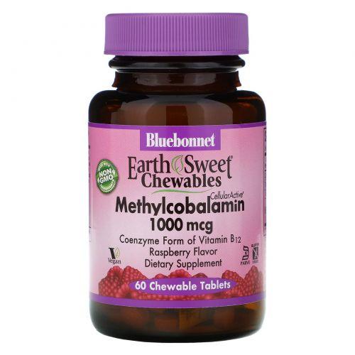 Bluebonnet Nutrition, EarthSweet, метилкобаламин, натуральный малиновый ароматизатор, 1000 мкг, 60 жевательных таблеток