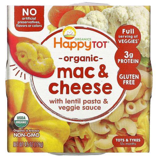 Happy Family Organics, Organics Happy Tot, «Любимые овощи в тарелке», макароны с сыром, 128г