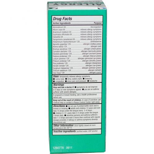 NatraBio, bioAllers, лечение аллергии, пыльца трав, 1 жидкая унция (30 мл)