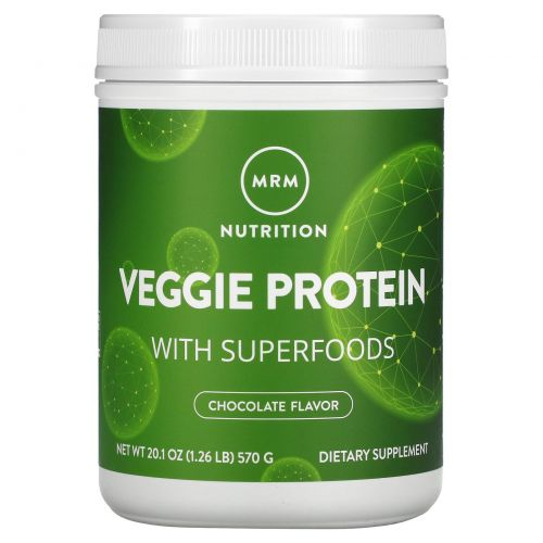 MRM, 100% All Natural Veggie Protein with Superfoods, Chocolate, 20.1 oz (570 g)
