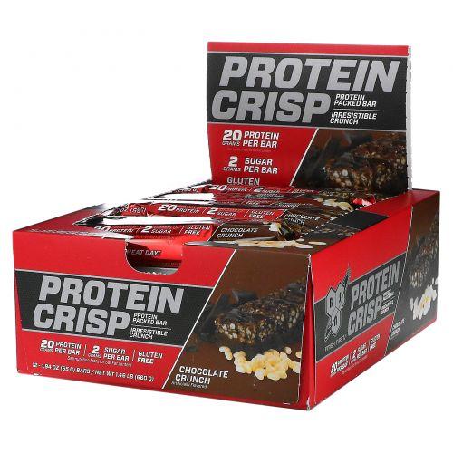 BSN, Протеиновые чипсы, шоколадный хрустящий вкус, 12 батончиков, 2,01 унц. (57 г) каждый