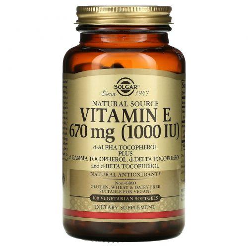Solgar, Натуральный витамин E, 1000 МЕ, 100 мягких капсул на растительной основе