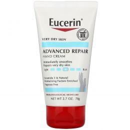 Eucerin, Крем для рук для продвинутого восстановления, без запаха, 2,7 унции (78 г)