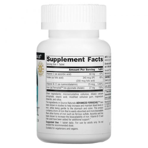 Source Naturals, Advanced Ferrochel, 180 таблеток