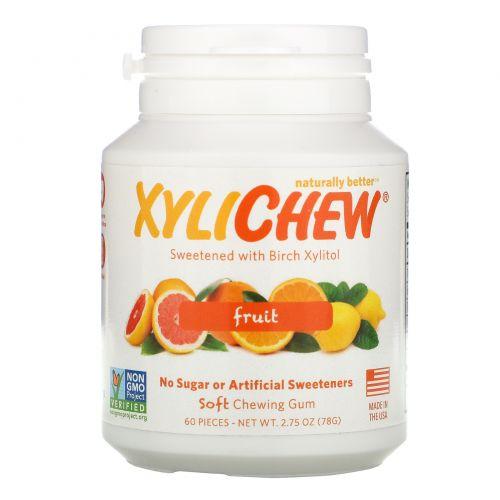 Xylichew Gum, Жевательная резинка Xylichew, с натуральным березовым ксилитом, фруктовый вкус, 60 шт
