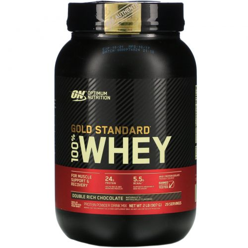 Optimum Nutrition, 100% молочная сыворотка, со вкусом шоколада, 2 фунта (909 г)