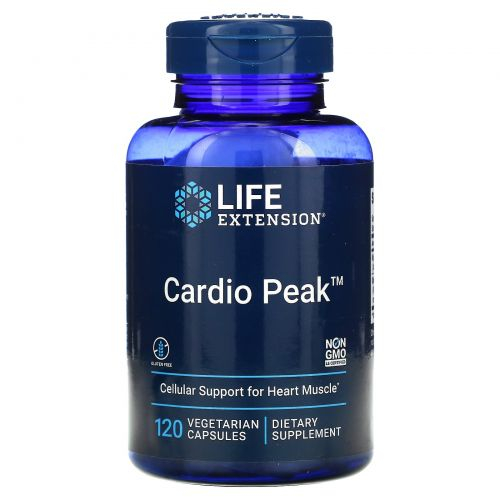 Life Extension, Cardio Peak со стандартизованными боярышником и арджуной, 120 вегетарианских капсул