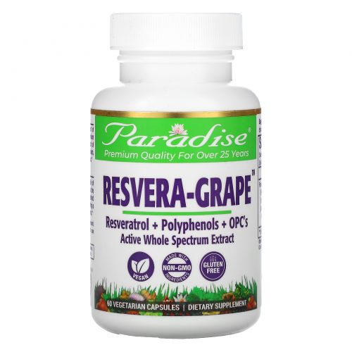 Paradise Herbs, MedVita, ResveraGrape, 60 вегетарианских капсул