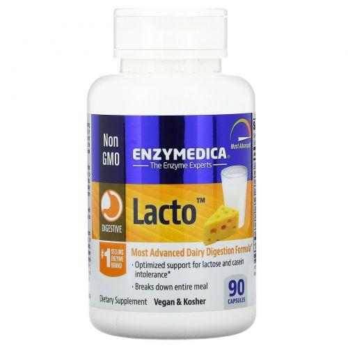 Enzymedica, Lacto, самая продвинутая формула для усвоения молочных продуктов, 90 капсул
