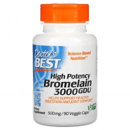 Doctor's Best, Best 3000 GDU бромелайн, 500 мг, 90 растительных капсул