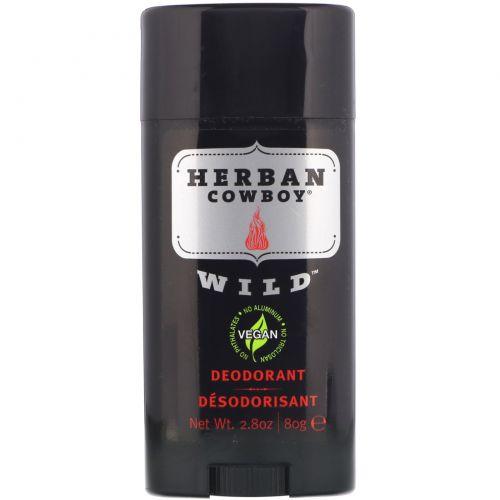 Herban Cowboy, Дезодорант максимальной защиты, Wild, 2,8 унции (80 г)