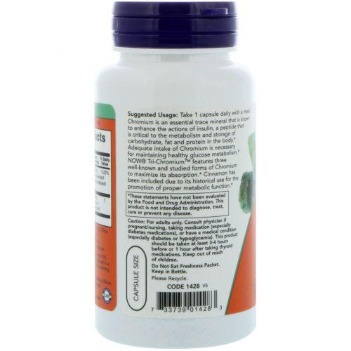 Now Foods, Tri-хром, 500 мкг, 90 растительных капсул