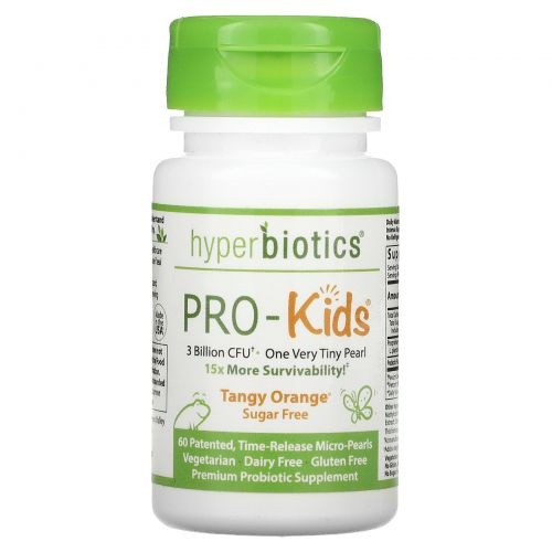 Hyperbiotics, PRO-Kids, идеальный детский пробиотик, не содержит сахара, терпкий цитрус, 60 мини-горошин