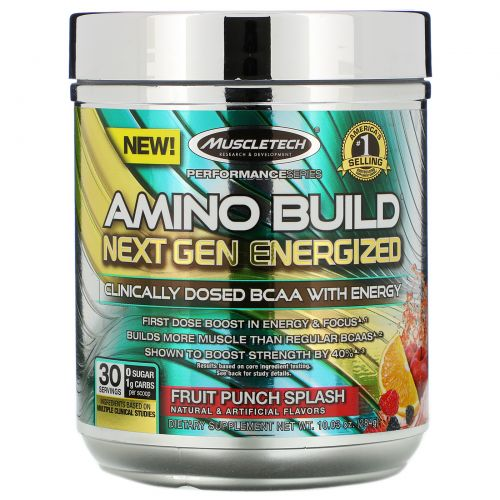 Muscletech, Amino Build Next Gen Energized, Fruit Punch Splash, 280 г (9,86 унций)