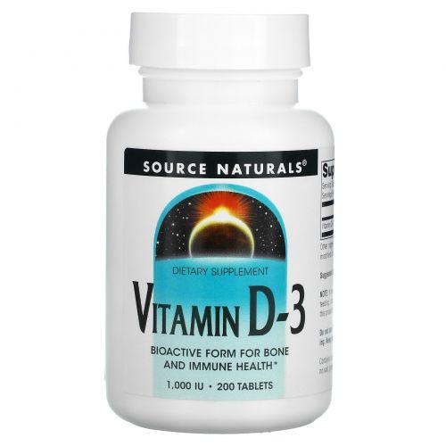Source Naturals, Витамин D-3, 1000 МЕ, 200 таблеток