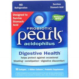 Nature's Way, Пробиотик Pearls Acidophilus, 90 желатиновых капсул